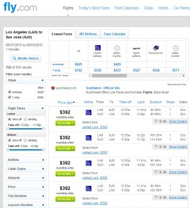 Los Angeles to San Jose, Costa Rica: Fly.com Results