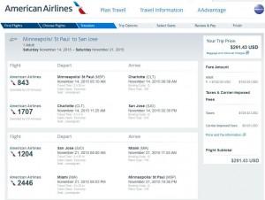 Minneapolis-San Jose: American Booking Page