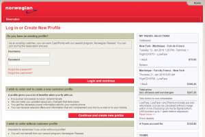 NYC to Guadeloupe: Norwegian Air Shuttle Booking Page