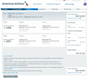 New York City to Cancun: AA Booking Page