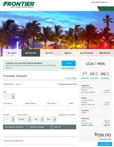 NYC to Miami: Frontier Booking Page