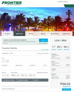 New York City to Miami: Frontier Booking Page