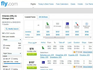 Orlando-Chicago: Fly.com Search Results