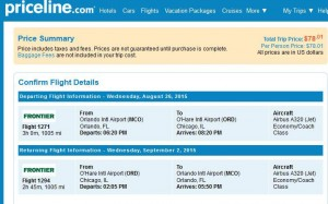 Orlando-Chicago: Priceline Booking Page