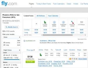 Phoenix to SanFrancisco: Fly.com Results