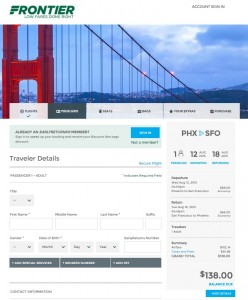 Phoenix to SanFrancisco: Frontier Booking Page