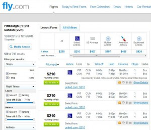 Pittsburgh-Cancun: Fly.com Search Results