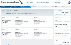 Pittsburgh-Miami: American Booking Page