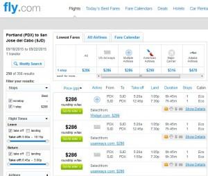 Portland to Los Cabos: Fly.com Results