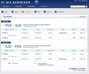 Portland to Los Cabos: US Air Booking Page