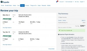 Salt Lake City to Orlando: Expedia Booking Page