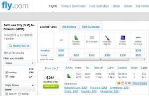 Salt Lake City to Orlando: Fly.com Results