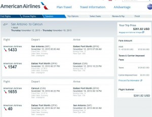 San Antonio-Cancun: American Booking Page