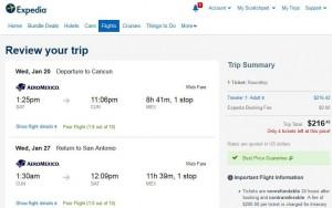 San Antonio-Cancun: Expedia Booking Page