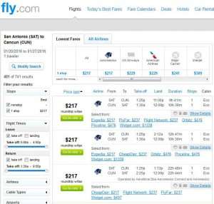San Antonio-Cancun: Fly.com Search Results