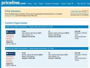 San Antonio-Mexico City: Priceline Booking Page