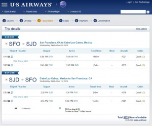 San Francisco to Los Cabos: US Air Booking Page