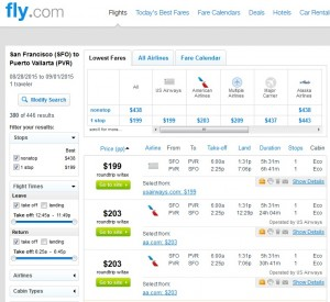 San Francisco to Puerto Vallarta: Fly.com Results