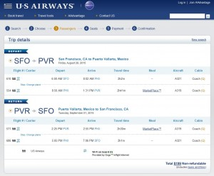 San Francisco to Puerto Vallarta: US Air Booking Page