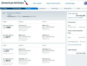 St. Louis-Aruba: American Booking Page