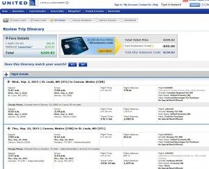 St. Louis-Cancun: United Booking Page
