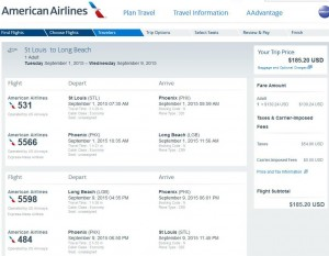 St. Louis-Long Beach: American Booking Page