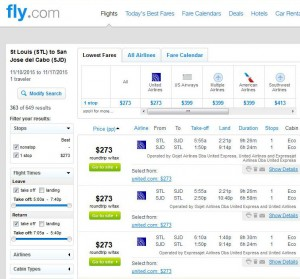 St. Louis-Los Cabos: Fly.com Search Results