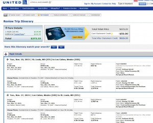 St. Louis-Los Cabos: United Booking Page