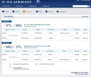St. Louis-Montego Bay: US Airways Booking Page