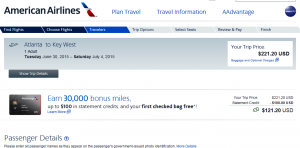 Atlanta to Key West: American Airlines Page