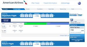 Atlanta to San Jose: American Airlines Results Page
