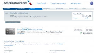 Nashville to NYC: American Airlines Booking Page