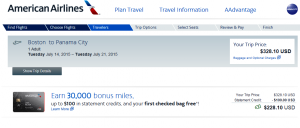Boston to Panama City: American Airlines Booking Page