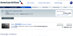 NYC to Buenos Aires: American Airlines Booking Page