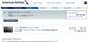 Raleigh to Key West: American Airlines Page