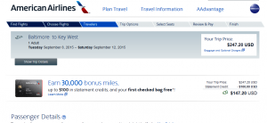 D.C & Baltimore to Key West: American Airlines Booking Page