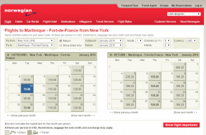 NYC to Martinique: Norwegian Air Shuttle Calendar Page