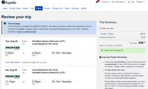 Atlanta to Austin: Expedia Booking Page