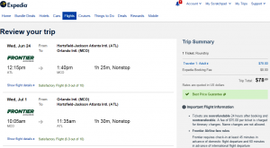 Atlanta to Orlando: Expeida Booking Page