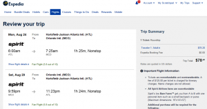 Atlanta to Orlando: Expedia Booking Page