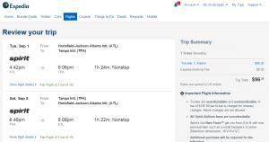 Atlanta to Tampa: Expedia Booking Page