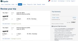 Boston to Dallas: Expedia Booking Page