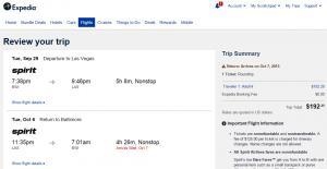 Baltimore to Las Vegas: Expedia Booking Page