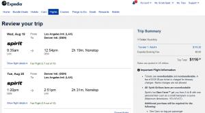 LA to Denver: Expedia Booking Page