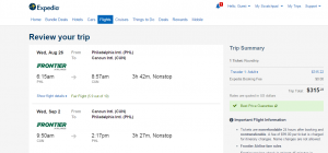 Philadelphia to Cancun: Expedia Booking Page