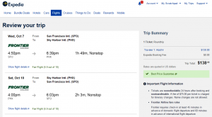 SF to Phoenix: Expedia Booking Page