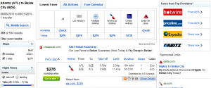 Atlanta to Belize: Fly.com Results Page