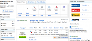 Atlanta to Key West: Fly.com Results Page