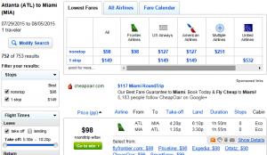 Atlanta to Miami: Fly.com Results Page
