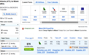 Atlanta to Miami: Fly.com Results Page